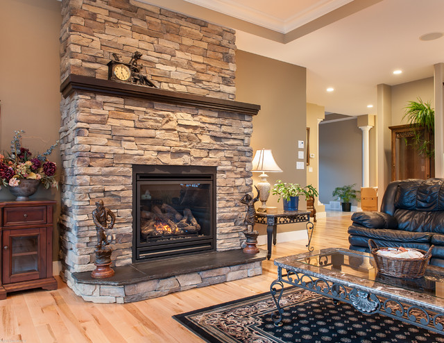 custom fireplace with summit uintah ledgestone traditional rh houzz com