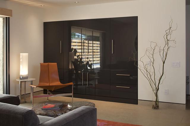Custom high-gloss gray lacquer / Arete Kitchens modern-family-room