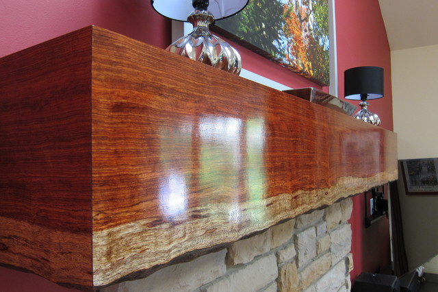 Custom live edge mantel - Transitional - Family Room - chicago - by Your Favorite Room By Cathy ...