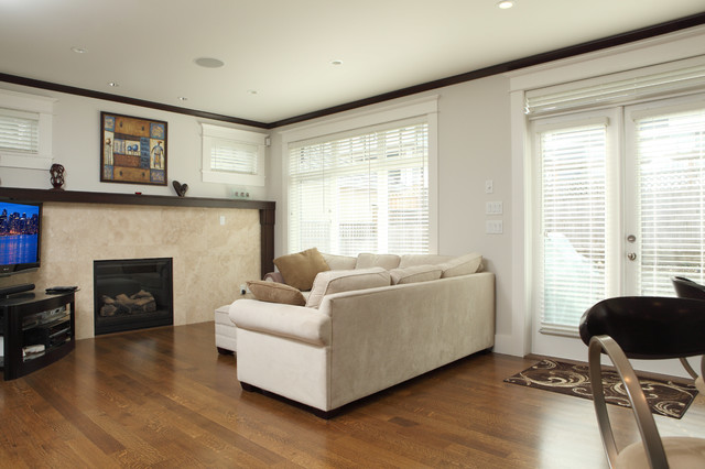 custom modern craftsman new home build traditional family room
