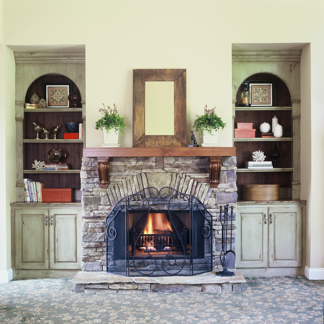 Stone Fireplace With Built In Cabinets: Custom Painted Cabinets