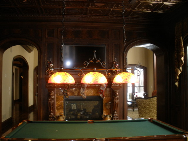 Custom Pool Table Light Traditional Family Room
