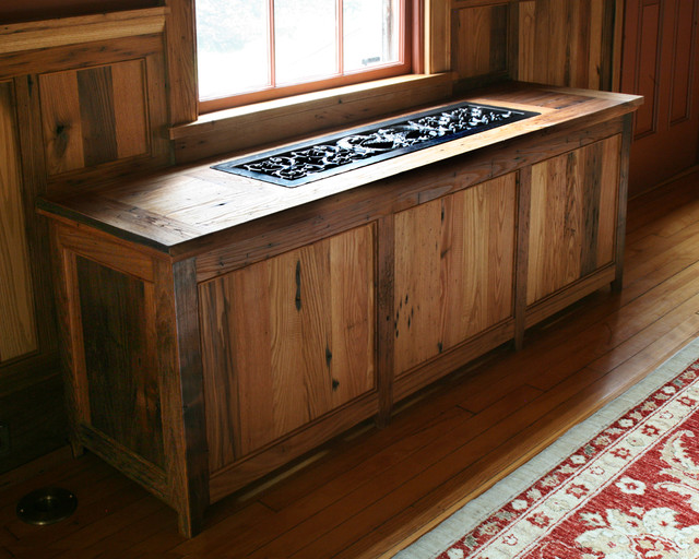 Custom radiator cover out of cherry with custom grill farmhouse-family-room