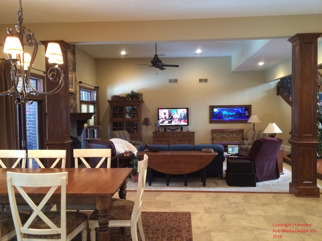 Custom Residential Audio Video Automation Design traditional-family-room