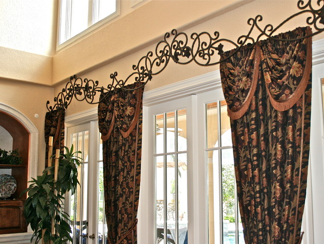 Custom Rod Iron Header For Drapes Family Room Tampa
