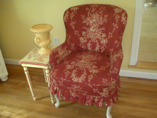 Custom Slipcovered Chair traditional family room