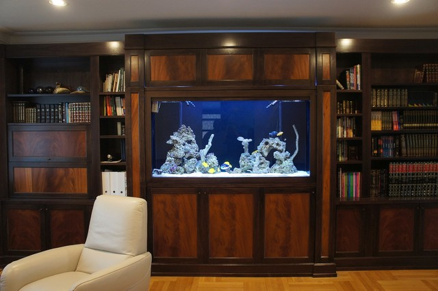 Custom Wall Unit Aquarium Traditional Family Room
