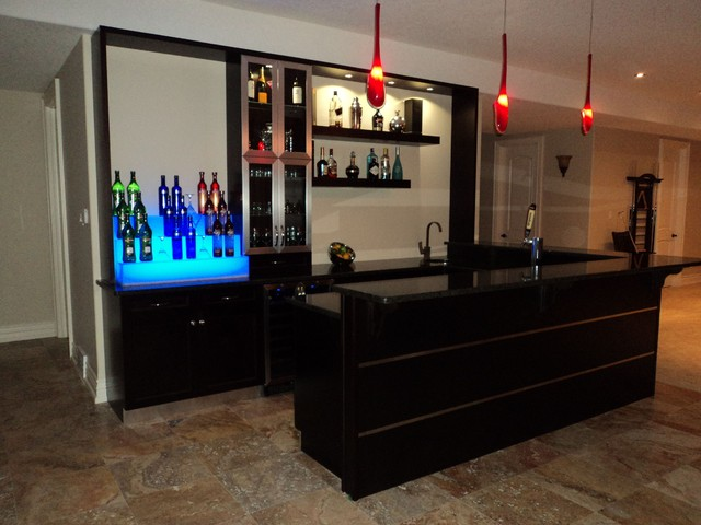 Custom Wet Bar Modern Family Room Toronto By