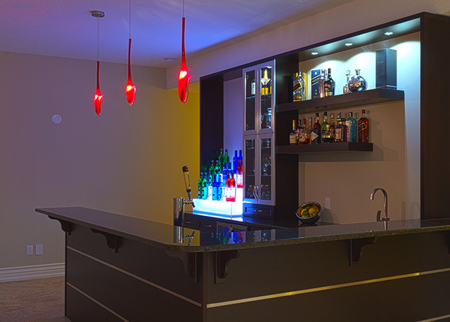 Custom Wet Bar Modern Family Room