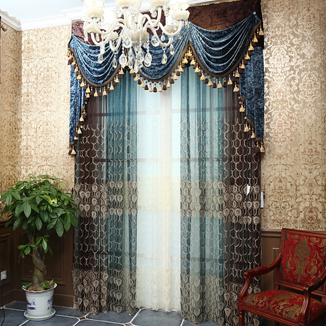 Customized Curtains In Blue Color Contemporary Family Room