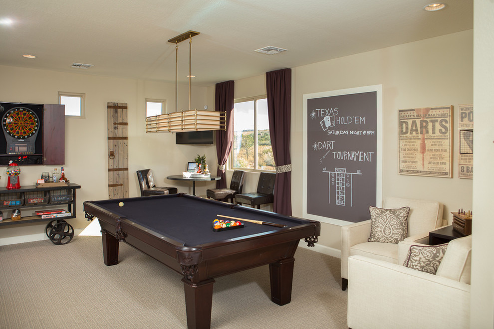 Example of a transitional carpeted game room design in Phoenix with beige walls