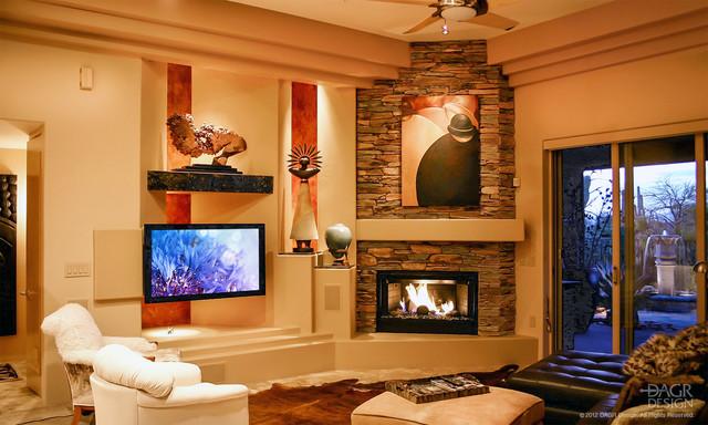 Dagr custom media wall traditional family room for Media wall design phoenix