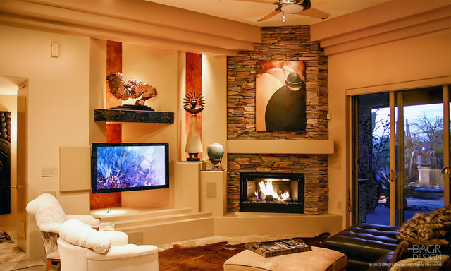 DAGR Custom Media Wall Traditional Family Room Phoenix by