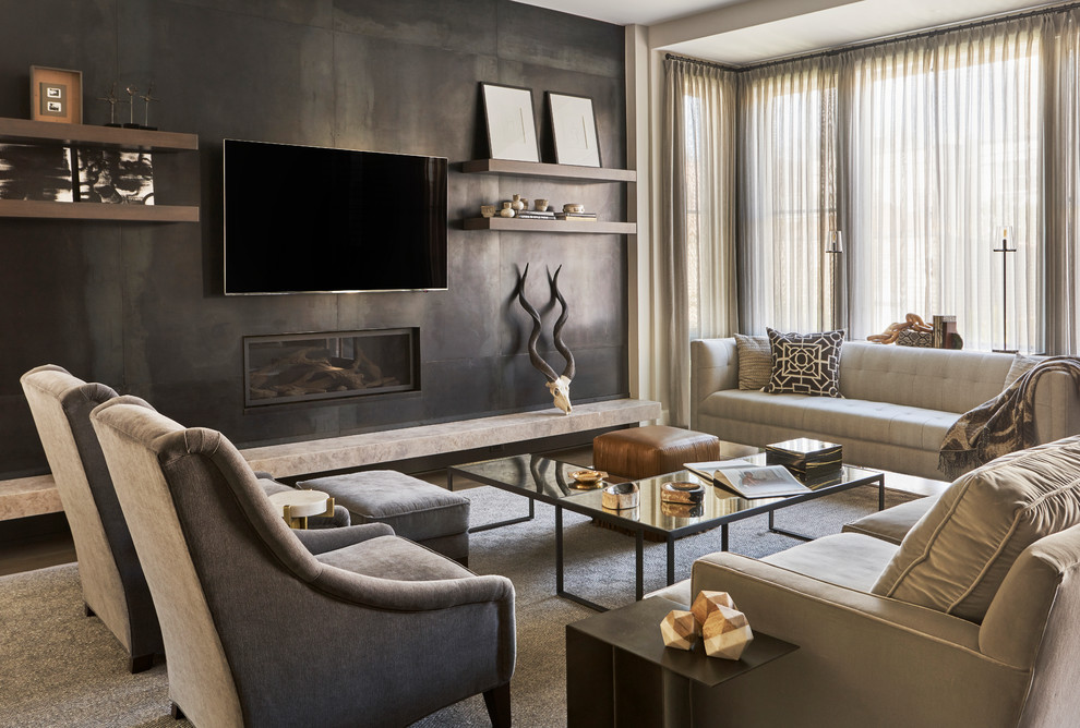Family room - large contemporary open concept dark wood floor family room idea in Chicago with a wall-mounted tv, a ribbon fireplace, gray walls and a metal fireplace