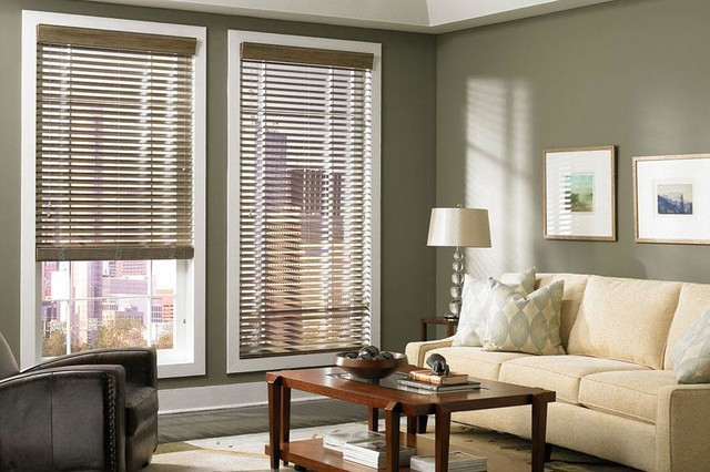 Dark wood blinds lafayette living room ideas modern for Modern living room window treatments