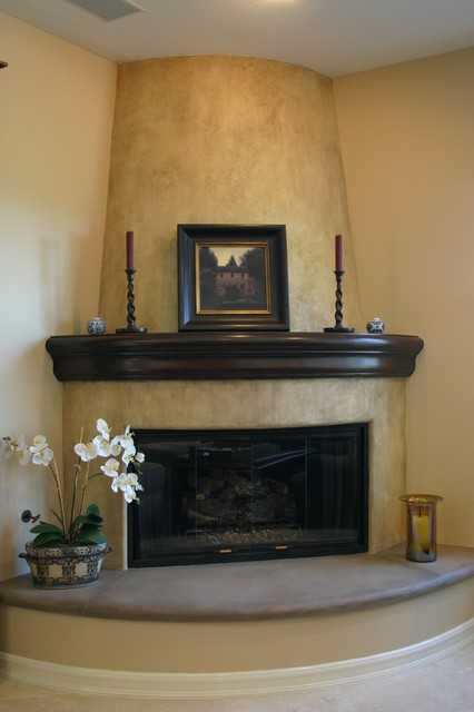 Decorative Fireplace Area Mediterranean Family Room