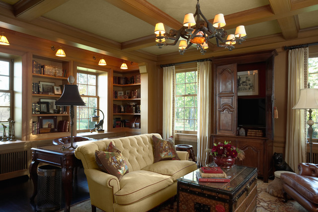 Mid Sized Traditional Enclosed Dark Wood Floor Family Room Idea In  Minneapolis
