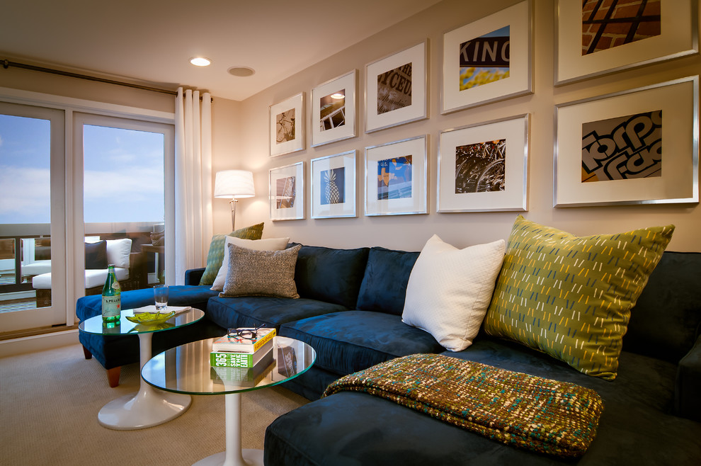 Inspiration for a contemporary family room remodel in DC Metro with gray walls