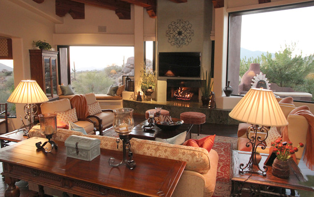 Desert Mountain with Western Blend traditional-family-room