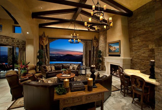 Desert Tuscan Mediterranean Family Room Phoenix By Weaver Interior Designs
