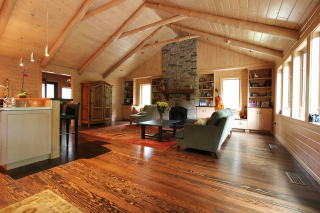 Dexter log home addition and remodel traditional for Family room addition pictures