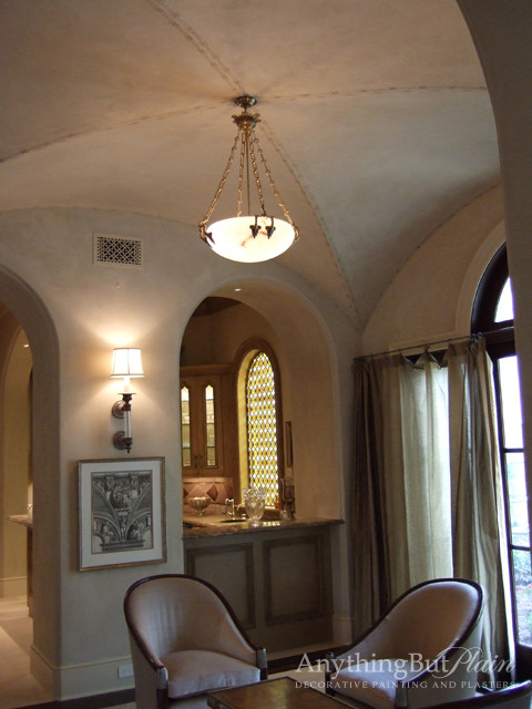 Diamond Plaster Walls and Ceiling with Groin Ceiling Detail family-room