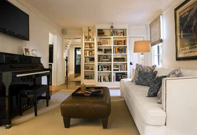 condo living room. Example of a classic family room design in Atlanta with music area Small Condo Living Room  Houzz