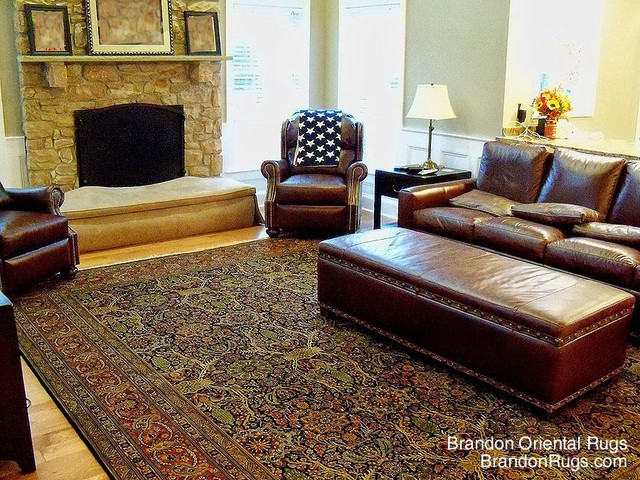 Doylestown PA Homeowner Finds Oriental Rug For Furnishing Of Family Room Transitional