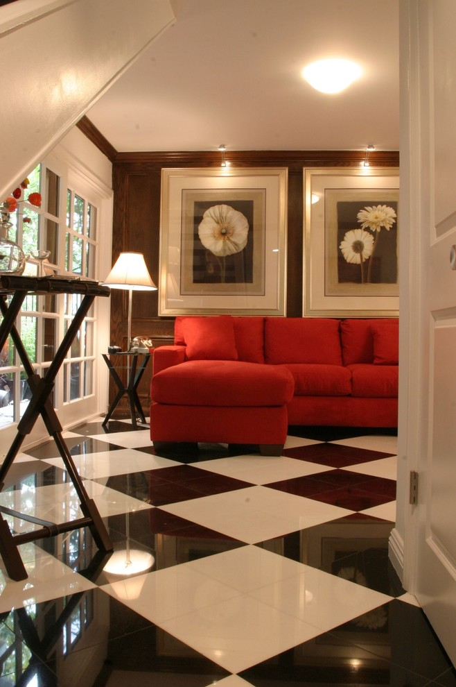 Trendy multicolored floor family room photo in Los Angeles with brown walls