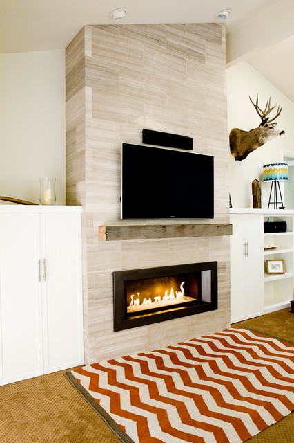 Dramatic Fireplace Makeover Contemporary Family Room