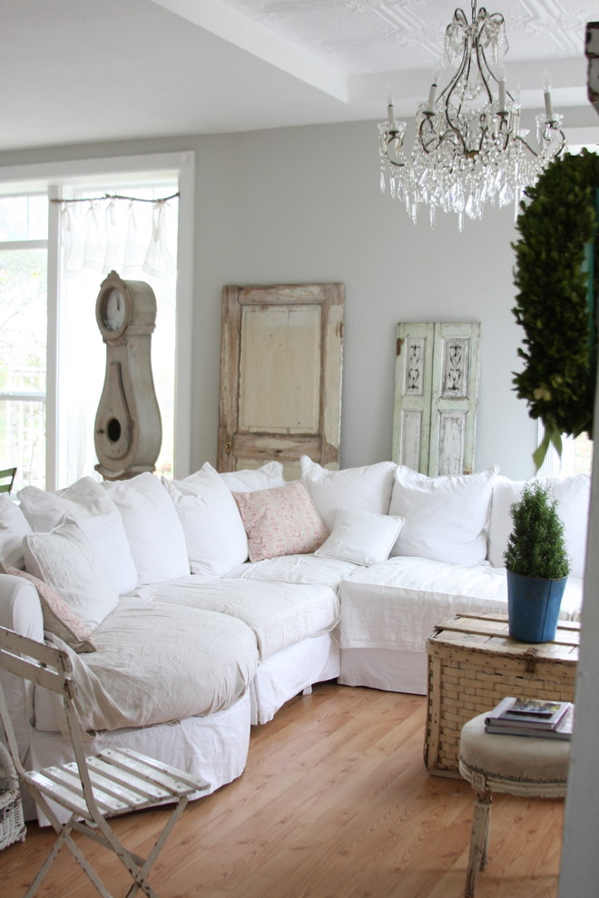 Cottage chic medium tone wood floor family room photo in Other with gray walls