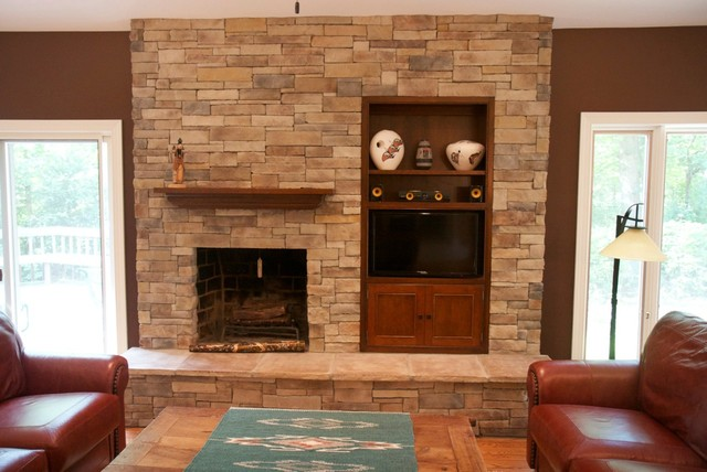 Dry Stack Stone Veneer Fireplace Traditional Family