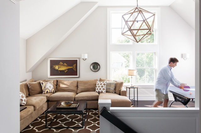 Transitional loft-style game room photo in Boston with white walls and no tv : houzz sectionals - Sectionals, Sofas & Couches