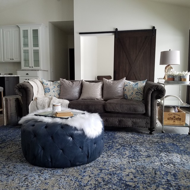 Country family room photo in Other