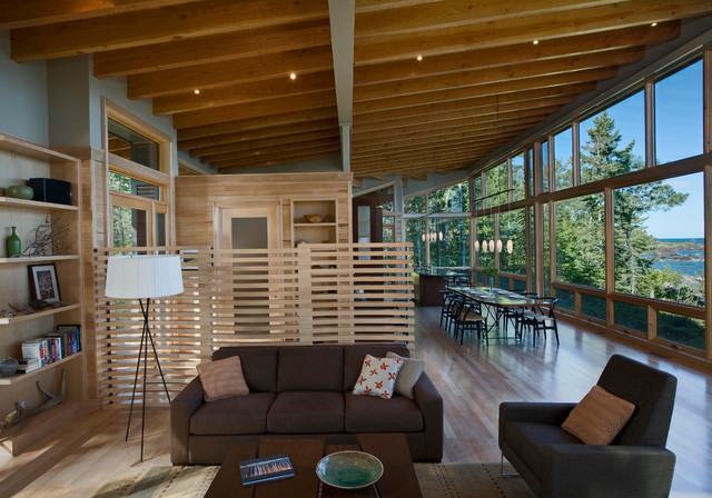 Rustic Family Room by FINNE Architects