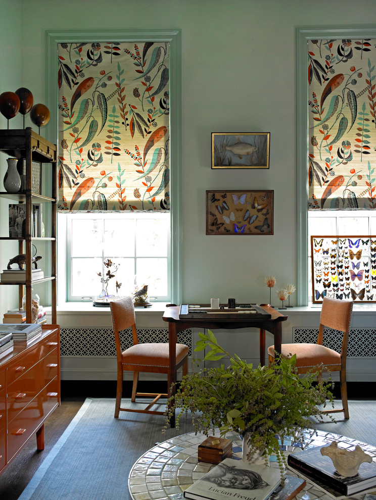 Inspiration for an eclectic dark wood floor family room remodel in New York