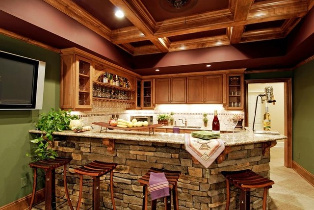 Stacked Stone Bar eclectic-family-room