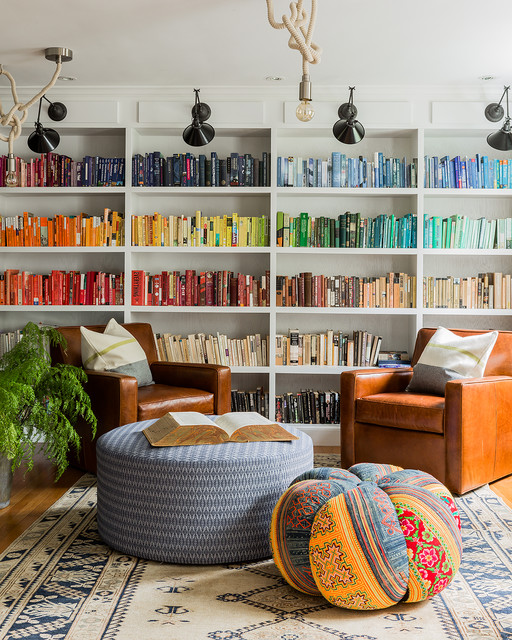 Eclectic family and games room in Boston with a reading nook.