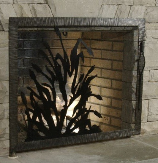 Oak Hill Iron Fire Place Accessories eclectic family room
