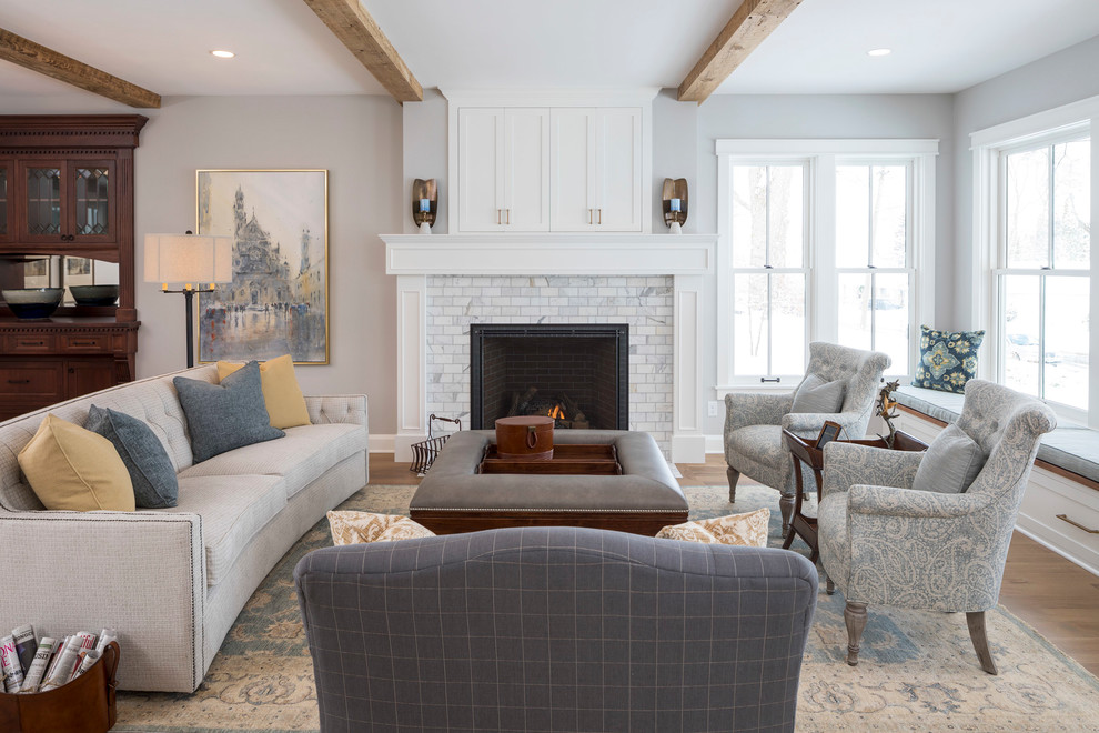 Example of a transitional family room design in Minneapolis