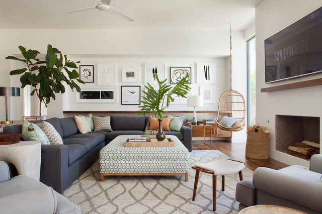 Eclectic Mid-Century - Rancho Mirage - Beach Style - Family Room ...