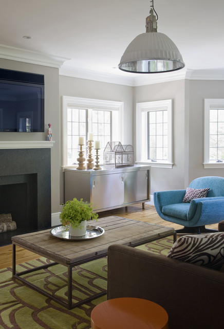 Eclectic Modern Tudor Family Room industrial family room