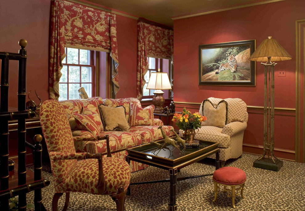 Eclectic family room photo in Philadelphia with red walls