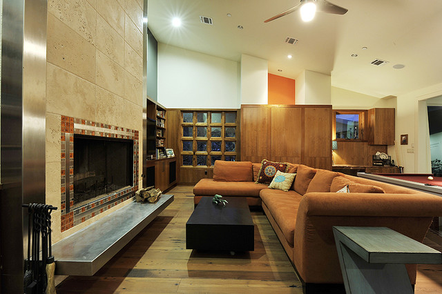 Eco-Entertainment contemporary family room