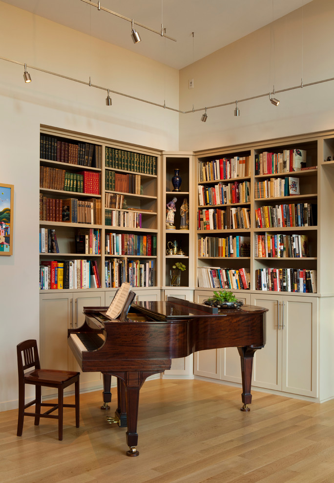Eclectic family room library photo in San Francisco