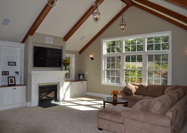 family room over garage decorating ideas - Elegant Living above Garage Traditional Family Room