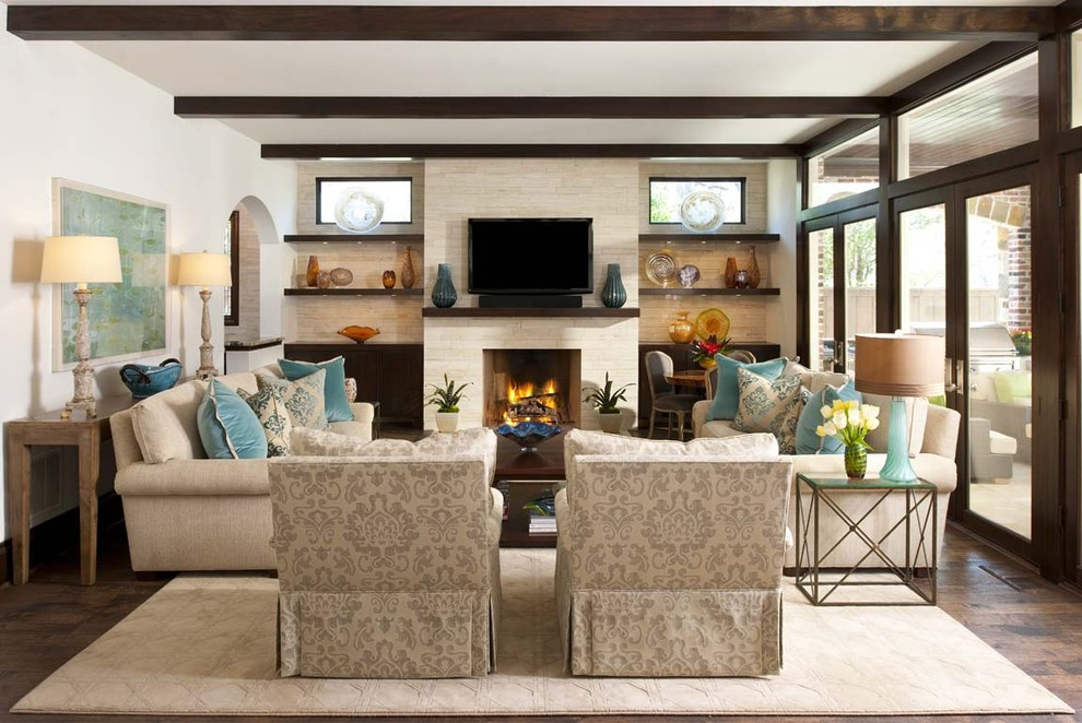 Family room - transitional family room idea in Dallas