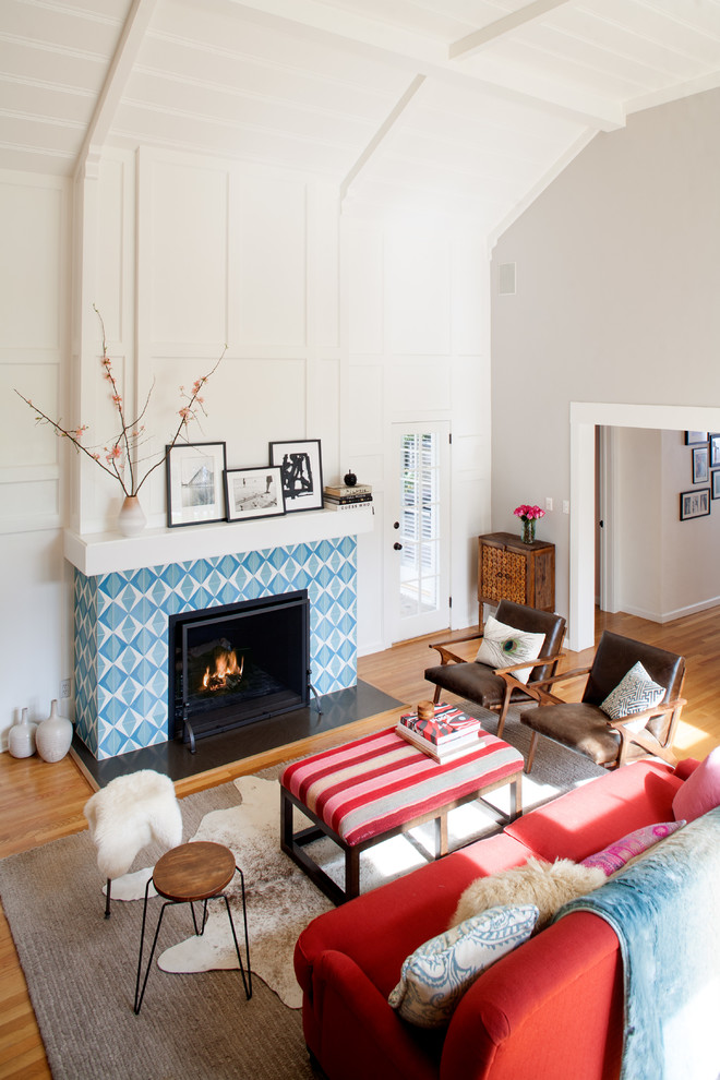 Inspiration for a mid-sized contemporary open concept medium tone wood floor family room remodel in Los Angeles with white walls, a standard fireplace and a tile fireplace