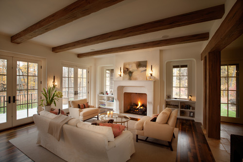 Hi are the exposed beams on the ceiling real wood or faux for Exposed wood beam ceiling