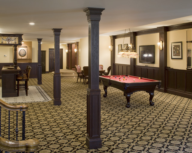 English Pub Home Theater traditional-family-room